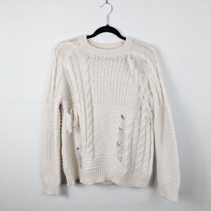 Topshop Distressed Fringe Chunky Knit Sweater
